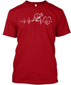 Australia Kangaroo In My Heartbeat Tee Deep Red T-Shirt Front