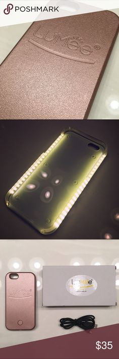 Rose Gold Lumee Selfie Light Case for iPhone Brand new authentic rose gold Lumee case. I have iPhone 6/6s + iPhone 6+/6s+ LED lighting on both sides of the case gives you a soft and beautiful light for every occasion.   Features: Dimmer Switch to control light output and lets  you control the light. Rechargeable battery and charging cord. Long lasting battery that works independently of your phone. Tough, impact resistant plastic. Your phone is snug and safe with the LuMee case! Lumee…