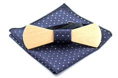 Maple wooden bow tie with matching pocket square Sale! Wooden Bow Tie, Dark Star, Tie And Pocket Square, Men Dress, Buy And Sell, Bows, Fabric, Handmade, Stuff To Buy