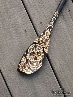 Sugar Skull Spoon - pyrography wood burning home decor via Etsy