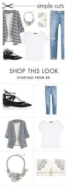 """Simple Cuts Blazer, White T, Jeans"" by mk-style ❤ liked on Polyvore featuring White House Black Market, WithChic, MANGO, Catherine Stein and Lipsy"
