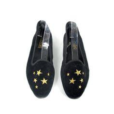 1f5375cd4ac 80s Black Velvet Loafers Star Embroidered Slippers Slip On Flats Vegan  Womens Vintage Shoes (7.5)