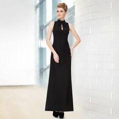 Sleeveless Black Collared Long Evening Party Dress For Women HE08169BK