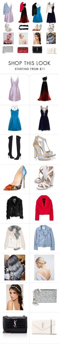 """Prom looks"" by izzwhizzicorn ❤ liked on Polyvore featuring Miss Selfridge, Topshop, Jimmy Choo, Miss KG, McQ by Alexander McQueen, MANGO, ASOS, LULUS, Tory Burch and Yves Saint Laurent"