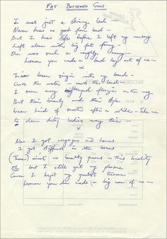 Queen - Fat Bottomed Girls.. Freddie Mercury hand-written lyrics