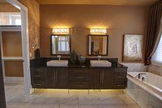 Quartz countertops in a washroom