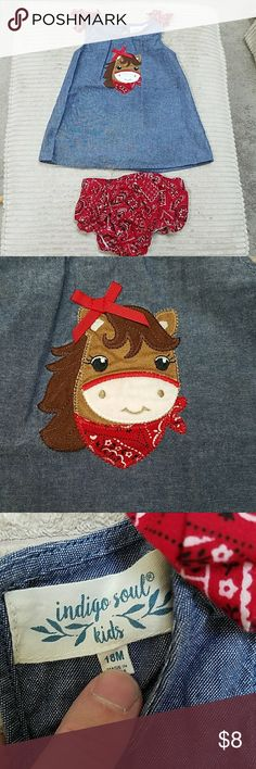 Horse Dress and Diaper Cover Set Indigo Soul Kids. So cute!! Purchased from cracker barrel.  Top does have a few smaller stains(see pics), otherwise in Good condition. Bottoms EUC. Smoke free home. Indigo Soul Kids Dresses