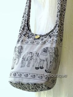 SMALL SIZE Elephant Crossbody Woman Girl Hobo Boho by TipBoutique