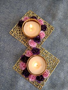 Diwali Candle Holders, Diwali Candles, Diy Candles, Tea Light Candles, Tea Lights, Diya Decoration Ideas, Diwali Decoration Items, Diwali Decorations At Home, Candle Decorations