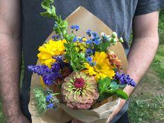 Bouquet fin juillet. Zinnia, atriplex, myosotis chinois, salvia, cerinthe, helianthus.