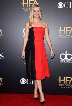 Reese Witherspoon in a red and black J. Mendel dress