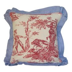 A pillow made from a circa printed Toile that depicts scenes of Don Quixote, it is edged and backed with hand dyed linen Damask and includes a down insert Red Accent Bedroom, French Antiques, Vintage Antiques, Don Quixote, French Fabric, Cushion Fabric, Red Accents, Cotton Linen, Damask