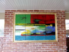 Painting on folding panels to cover an outdoor TV. Gold leaf the moulding to look like a frame. Imagination ii