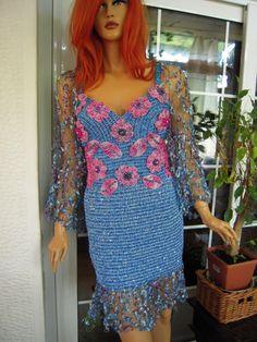 Handmade crochet dress/wedding dress in turquoise by GoldenYarn, $600.00