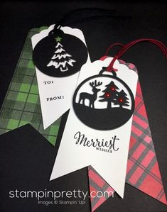 Merriest Wishes & Merry Tags Framelits Dies holiday tags created by Mary Fish, Stampin' Up! 3d Christmas, Christmas Paper Crafts, Stampin Up Christmas, Christmas Gift Tags, Holiday Cards, Holiday Ideas, Mary Fish, Stampinup, Christmas Catalogs