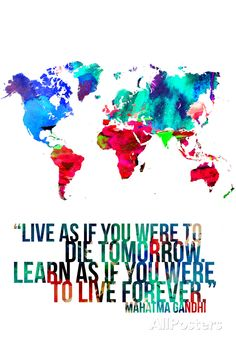 World Map Quote Mahatma Gandi Posters by NaxArt at AllPosters.com