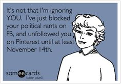 It's not that I'm ignoring YOU. I've just blocked your political rants on FB, and unfollowed you on Pinterest until at least November 14th.
