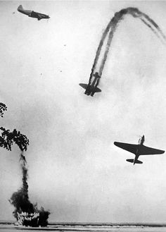 World War II, in Russia – the Great Patriotic War (22 June 1941 – 9 May 1945). Air battle over the Kuban River in Russia. MiG-3 (left) and Yak-9 (right) Russian fighter aircraft, Junkers Ju-88 (middle) German aircraft. 1943.