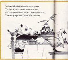 """Panda Cake"" by Rosalie Seidler, 1978 (https://www.etsy.com/listing/156410814/vintage-kids-book-panda-cake-big-and?image_id=478534203)"