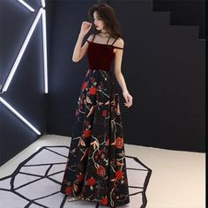 Spaghetti strap slim printing long evening dress, sexy elegant party prom off-shoulder dress from original factory