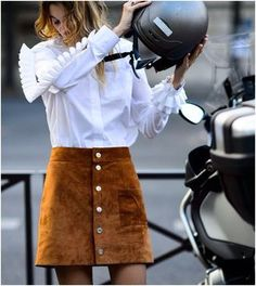 Brown Suede Button Down Skirt with White Frilled Shirt.