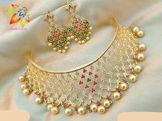 Jewelry Design Earrings, Gold Jewellery Design, Designer Jewellery, Diamond Jewellery, Necklace Designs, Gold Jewelry, Jewelery, Indian Bridal Jewelry Sets, Jewelry Model