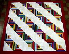Log Cabin Scrap Quilt.  Bold playful colors, and Elegant Look  -  (Quilt Top)