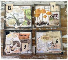 4 handmade mushroom collage journal cards