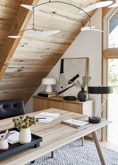 Mountain Home Design with loft office Emily Henderson Mountain House Home Office Design Studio, House Design, Loft Design, Design Design, Design Ideas, Home Office, Office Suite, Office Chic, Office Decor