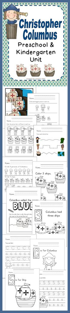 Christopher Columbus Kindergarten Unit  that includes different worksheets and activities.