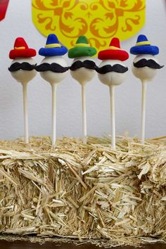 Mustache cake pops at a fiesta birthday party! See more party planning ideas at CatchMyParty.com!