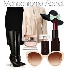 """Monochrome Addict"" by rocketteluster on Polyvore"