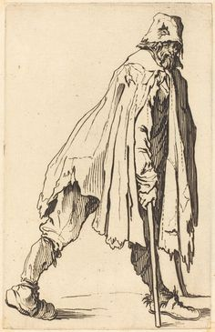 Beggar with Crutches and Cap | Jacques Callot, Beggar with Crutches and Cap (ca. 1622)