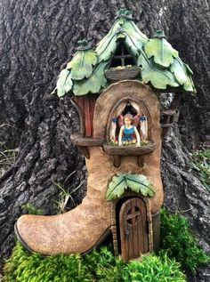 Fairy and Gnome Garden Tree Boot comes with a fairy inside. http://www.burgeandcompany.com