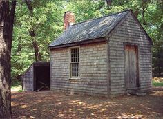 "Replica of Thoreau's cabin at Walden Pond near Concord, Massachusetts. ¶ ""Success usually comes to those who are too busy to be looking for it."" — Henry David Thoreau, American essayist, poet and philosopher Henry David Thoreau, Paths To Freedom, Walden Pond, Vie Simple, Cabin In The Woods, Cabins And Cottages, Small Cabins, Little Houses, Tiny Houses"