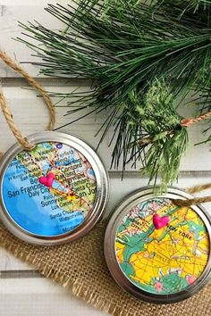 Mason Jar Ring Map Homemade Christmas OrnamentYou can find Homemade ornaments and more on our website. Easy To Make Christmas Ornaments, Homemade Christmas Decorations, Homemade Ornaments, Christmas Ornaments To Make, Simple Christmas, Handmade Christmas, Christmas Crafts, Christmas Christmas, Dough Ornaments