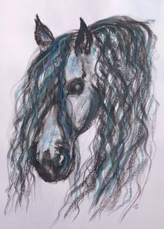 Hjmcc original a3 andalusian #horse #painting drawing pastel #dressage equestrian,  View more on the LINK: http://www.zeppy.io/product/gb/2/361729143796/