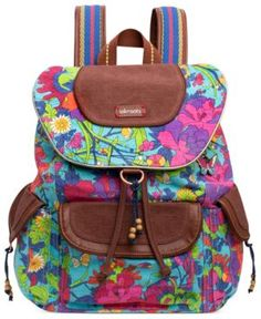 sakroots Handbag, Flap Backpack (711640434178) Whether you're trekking to the summit or catching the bus for class, this cool girl backpack will get your there in style. Spacious, pocket-lined with comfortable shoulder straps, it boasts a fun, free-spirited pattern and matching cosmetic case. From sakroots.