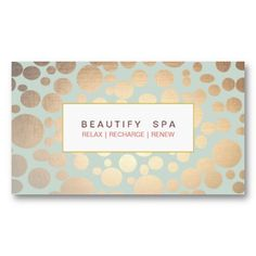 Spa Faux Gold Leaf Look Light Turquoise Blue Business Cards