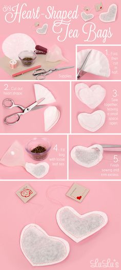 DIY Heart Shaped Tea Bags crafts diy home made easy crafts craft idea crafts ideas craft gifts love kids crafts