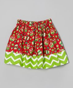 Red & Green Owl Zigzag Skirt