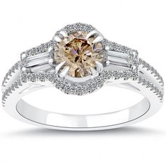 1.58 Carat Natural Fancy Champagne Brown Diamond Engagement Ring 14k White Gold - Thumbnail 1
