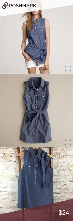 J. Crew Military Tunic XXS Chambray This Tunic is absolutely adorable! Tie can be worn as a belt or shoulder bow. In excellent condition. Measurements are approximate J. Crew Tops Tunics
