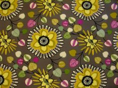 Mpress Vibrant Bold Large Floral Fuschia Golds Grays Print Upholstery Fabric - hope chest