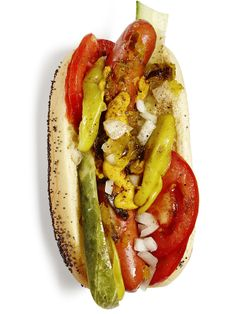 Food Network Magazine dreamed up so many hot dog toppings, you'll never have to eat a naked one again. Discover how Food Network Magazine dreamed up so many easy hot dog topping ideas and recipes. You'll never run out of ideas. Hot Dog Recipes, Great Recipes, Favorite Recipes, Summer Recipes, Chicago Dog Recipe, Hot Dogs, Food Network Recipes, Cooking Recipes, Hot Dog Toppings