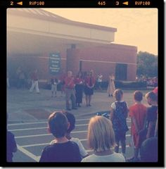 annual first day of school flag raising ceremony!  such a great idea for school spirit and country pride!