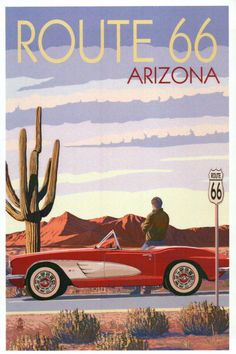 Arizona - Route 66 - Corvette with Red Rocks - Lantern Press Artwork Giclee Art Print, Gallery Framed, Espresso Wood), Multi Surf Vintage, Photo Vintage, Geek Wallpaper, Route 66 Wallpaper, Retro Wallpaper, Route 66 Arizona, Kunst Poster, Poster Prints, Art Prints
