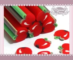 Red Apple Fruit Polymer Clay Cane / Fimo Cane Stick by DreamDeco, $0.99