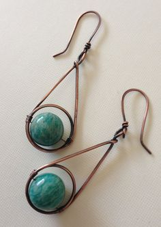 Copper dangle earrings with green amazonite beads by anikojewelry