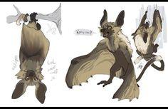 Wolf-Lemur-Bat by CloverCoin Animal Sketches, Animal Drawings, Cool Drawings, Cute Fantasy Creatures, Magical Creatures, Creature Concept Art, Creature Design, Fantasy Kunst, Fantasy Art